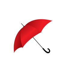 Vector illustration of classic elegant opened red umbrella isolated on white background