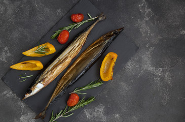 delicious smoked fish with vegetables, smoked saury and vegetables