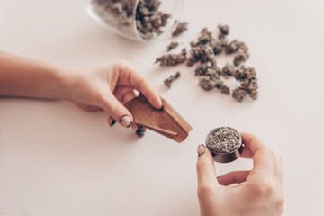 Woman preparing and rolling marijuana cannabis joint. Close up of marijuana blunt with grinder. Woman rolling a marijuana joint on white background. Marijuana use concept.