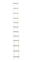 Long rope wooden step ladder isolated on white background