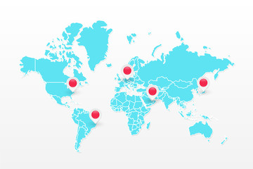 Vector world map infographic symbol. Blue icon with red map pointers. International global illustration sign. Design elements for business, global marketing project, web, presentation, template