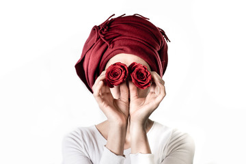 Girl Covers Her Eyes With Two Roses