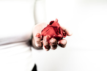 Girl Holding A Rose In Her Hand