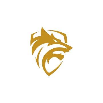 wolf head and shield logo