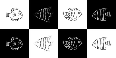 Cute cartoon hand drawn fish illustration set. Sweet vector black and white fish illustration set. Isolated monochrome doodle fish illustration set.