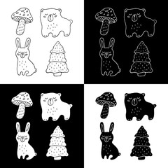 Cute cartoon hand drawn forest objects illustration set. Sweet vector black and white forest objects illustration set. Isolated monochrome forest objects illustration set.