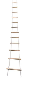 Long rope ladder isolated on white background
