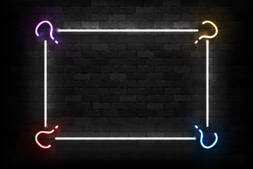 Vector realistic isolated neon sign of Quiz frame logo for template decoration and covering on the wall background. Concept of trivia night and question.