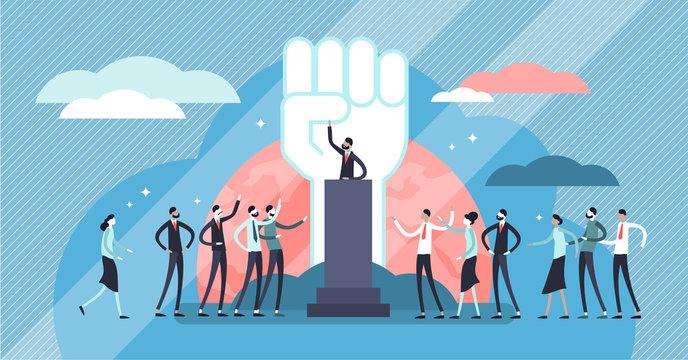 Populism vector illustration. Flat tiny leader manipulation persons concept