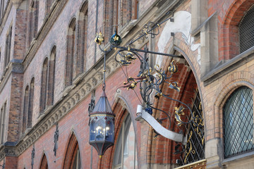 Victorian style street lamp from old European building, antique and classic in Munchen