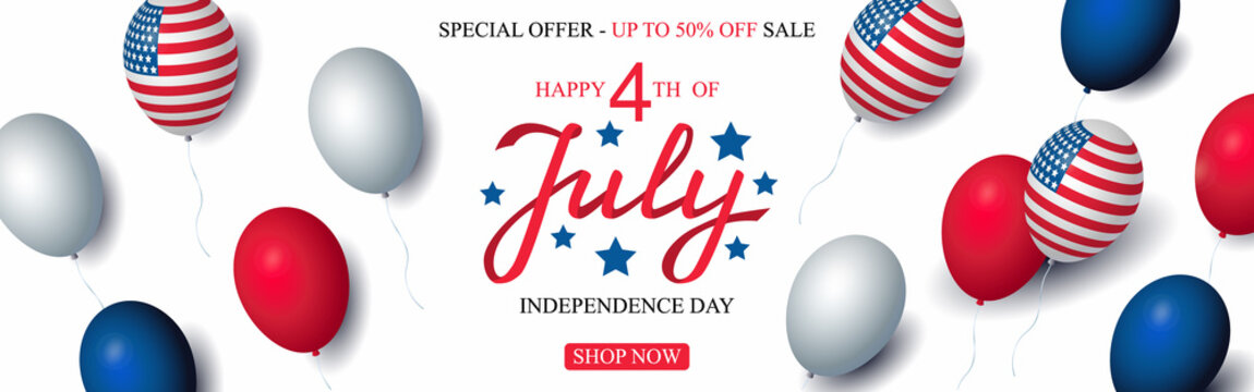 Independence day USA sale celebration banner template american balloons flag decor. 4th of July holiday poster template. Fourth of july poster. Vector illustration.