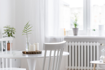 Home interior with white table