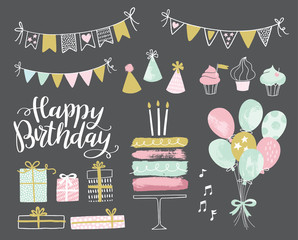 Set of vector hand drawn birthday party design elements. Party decoration, balloons, gift box, cake with candles, confetti, party hats, cupcakes, bunting banners.