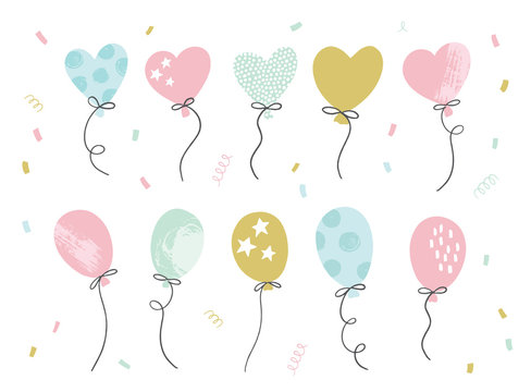 Set of hand drawn party balloons and confetti. Birthday decorations.  Vector illustration for greeting cards, invitations, posters.