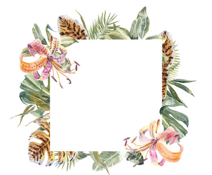Lili Flowers animal skin print, tropical leaves Frame. Exotic floral Wreath. Tiger print flowers Border