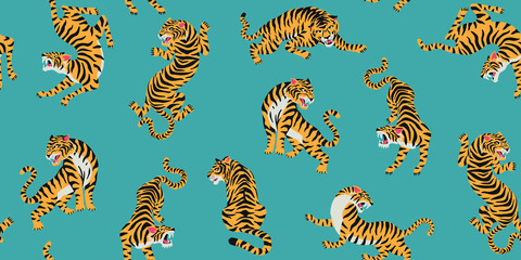 Vector seamless pattern with cute tigers on background. Fashionable fabric design. Fototapete