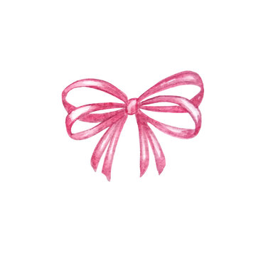watercolor pink bow