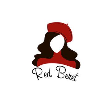 red beret woman face logo