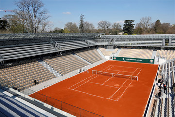 Overall view of the new court Simonne Mathieu during its opening ceremony at Roland Garros stadium in Paris