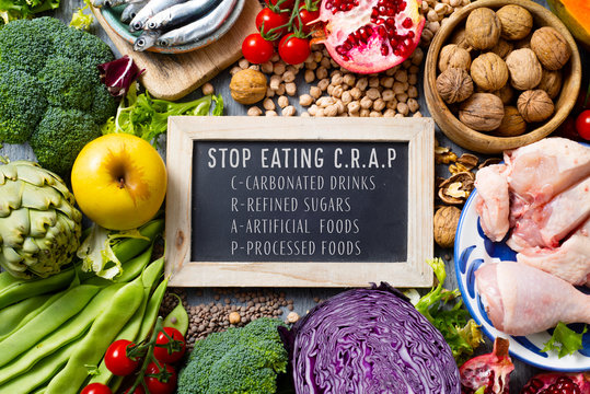 unprocessed food and text stop eating CRAP