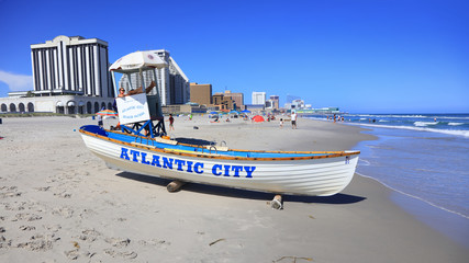 Life guard boat on the beach in Atlantic City,USA