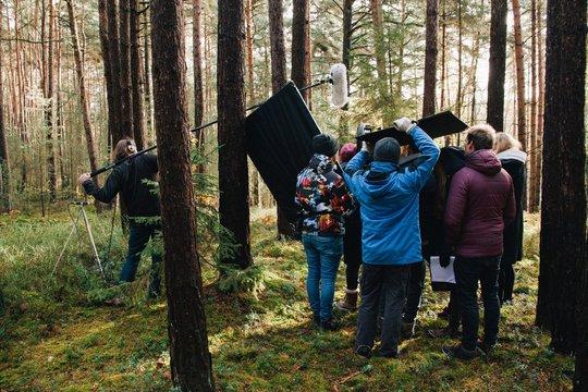 8.9.2017 Nuremberg, Germany: Behind the scene. Film crew team filming movie scene on outdoor location. Group cinema set