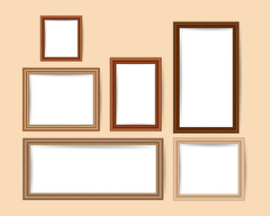 wooden picture frames. Vector EPS 10.
