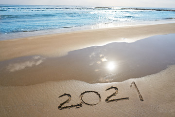 Wall Mural - year 2021 numbers spell written on beach