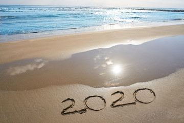 Wall Mural - year 2020 numbers spell written on beach