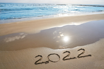Wall Mural - year 2022 numbers spell written on beach