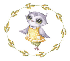 Watercolor vector owl in vintage style. Cute funny cartoon character. Watercolor print