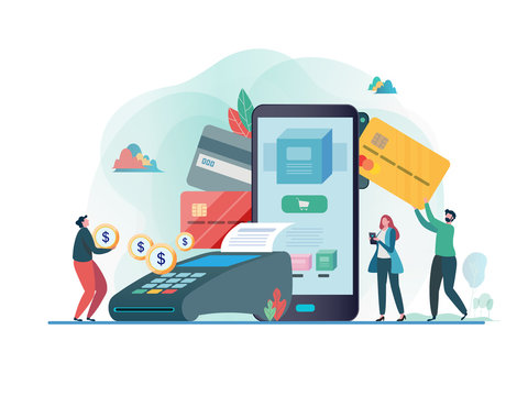 Online payment with smartphone. Paid by credit card. Shopping on line. Flat vector illustration modern character design. For a landing page, banner, flyer, poster, web page.