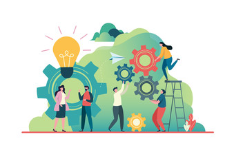 People create idea to success. business concept. Teamwork concept. Team building.  Team metaphor, Together. Flat vector illustration modern character design. For a landing page, banner, flyer,