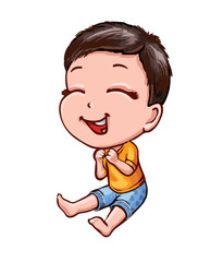 Little laughing boy with dark hair. Cartoon vector picture