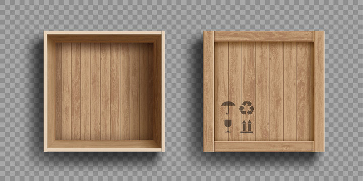 Empty open and closed wooden box. Isolated on a transparent background