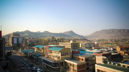 Aerial panorama view to Maseru, capital of Lesotho