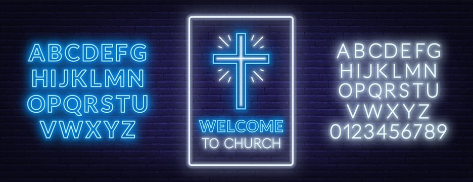 Church cross neon sign. Glowing symbol of the crucifixion with fonts. Welcome To Church.