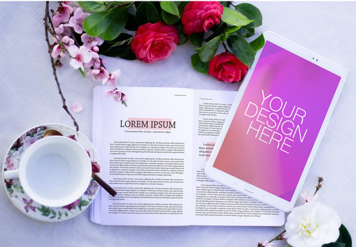 Table with Cup, Flowers, Book and Tablet Mockup