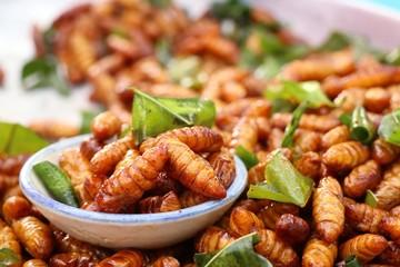 Fototapeta Fried insect at street food obraz