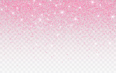 Pink glitter sparkle on a transparent background. Rose Gold Vibrant background with twinkle lights. Vector illustration