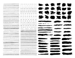 Mega pack vector brushes,strokes and spots. Set of templates paint wavy, curly, dotted, straight and zigzag hand drawing marker lines