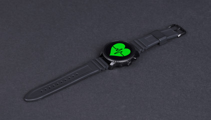Black smartwatch isolated, heartbeat