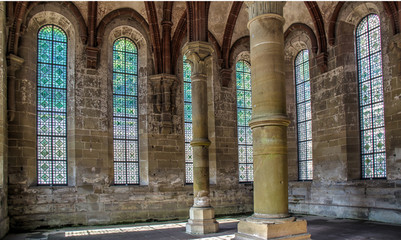 columns in cloister artful glass windows
