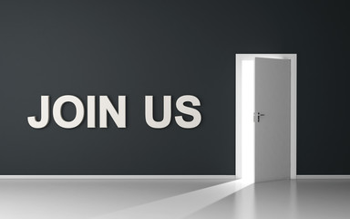 Join us message on room with open door