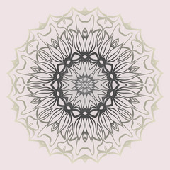 Fashion Design Print With Floral Mandala Ornament. Vector Illustration. Oriental Pattern. Indian, Moroccan, Mystic, Ottoman Motifs. Anti-Stress Therapy Pattern. Beige pastel color
