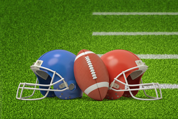 3d rendering of american football ball and two helmets on green field background