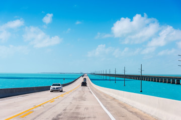 Driving on Seven Miles Bridge on a clear day