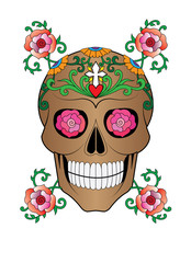 Art Sugar Skull Day of the dead. Hand drawing and make graphic vector.