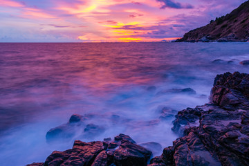 Before darkness on the sea shore of Rayong Province, Thailand