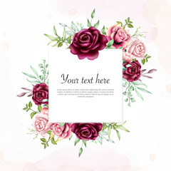 Beautiful Watercolor floral frame background